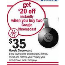 Buy 2 Get $20 Off Google Chromecast