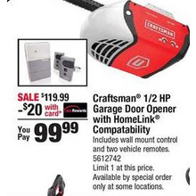 Craftsman 1/2HP Chain Drive Garage Door Opener