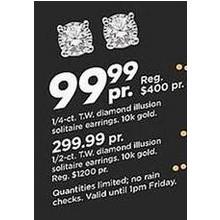 Diamond Illusion Solitaire 1/2-ct. 10k Gold Earrings