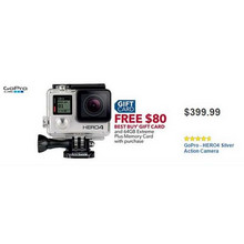 GoPro HERO4 Action Camera + Free $80.00 Best Buy Gift Card & 64GB Extreme Plus Memory Card
