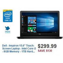 "Dell Inspiron 15.6"" Touch-Screen Laptop w/ Intel Core i3, 8GB RAM, 1TB HDD (I5558-2148BLK)"