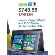 "Lenovo Yoga 3 Pro 2-in-1 13.3"" 8GB RAM 256GB SSD Intel Core M Touch-Screen Laptop (Platinum Silver)"
