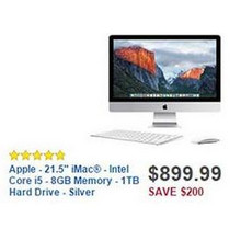 "Apple 21.5"" 8GB RAM 1TB HDD Intel Core i5 iMac Desktop"