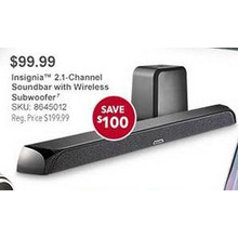 Insignia 2.1-Channel Soundbar w/ Wireless Subwoofer