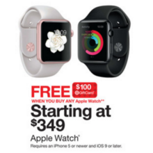 Apple Watch + Free $100.00 Target Gift Card Starting From $349.00