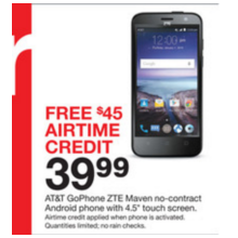 "AT&T 4.5"" GoPhone ZTE Maven No-Contract Android SmartPhone + Free $45.00 Airtime Credit"