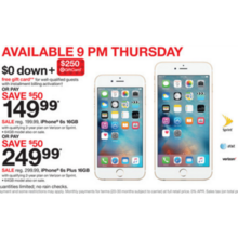 iPhone 6s 16GB + Free $250.00 Target Gift Card $0.00 Down w/ Installment Billing