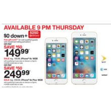 iPhone 6s Plus 16GB + Free $250.00 Target Gift Card $0.00 Down w/ Installment Billing