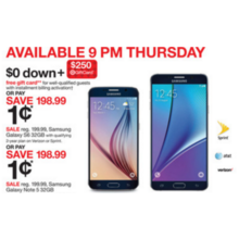 Samsung Galaxy S6 32GB Smartphone $0.01 w/ Qualifying 2-Yr. Plan