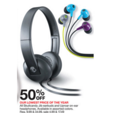 Skullcandy Jib Earbuds (Assorted) 50% Off