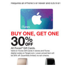 iTunes Gift Cards BOGO 30% Off