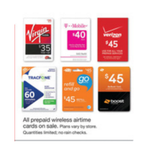Prepaid Wireless Airtime Cards (Assorted) On Sale