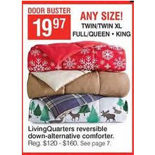 LivingQuarters Reversible Down-Alternative Comforter (Queen)