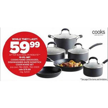 Cooks Hard-Anodized Dishwasher-Safe nonstick Cookware 10-pc. Set