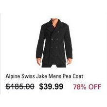 Alpine Swiss Jake Mens Pea Coat