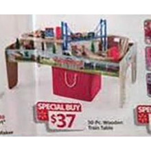 Wooden 30-pc. Train Table