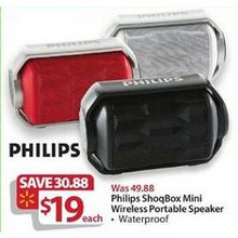 Philips Shoqbox Mini Waterproof Bluetooth Portable Speaker (Assorted)