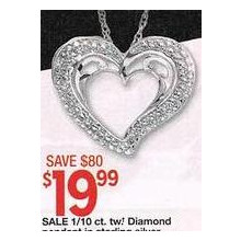 Sterling Silver 1/10 Cttw Diamond Heart Pendant