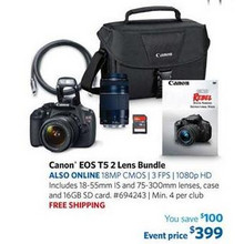 Canon T5 18MP Digital SLR Bundle w/ 18-55mm IS Lens, 75-300mm Lens, 16GB SD Card, & EOS 100ES DSLR Shoulder Bag