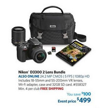 Nikon D3300 HD-SLR 24.2MP Camera Bundle w/ 18-55mm VR II Lens, 55-200mm VR II Lens, Camera Case & 32GB Memory Card