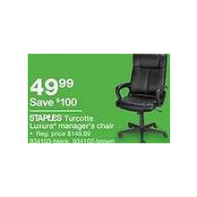 Staples Turcotte Luxura High Back Executive Chair (Black)