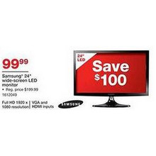 "Samsung 24"" 1080p Wide-Screen LED Monitor"