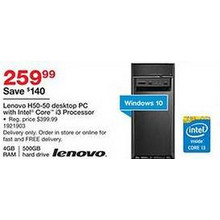 Lenovo H50-50 Desktop w/ Intel Core i3, 500GB HDD, 4GB RAM, Win 10