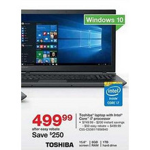 "Toshiba 15.6"" Laptop w/ Intel Core i7, 1 TB HDD, 8GB RAM, Win 10 (C55-C5381)"