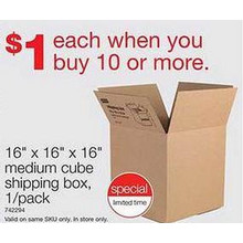 Staples 16 x 16 x 16-in.Corrugated Shipping Boxes - $1 Each w/ Purchase of 10 or More