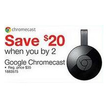 Google Chromecast - $20.00 Off When You Buy 2