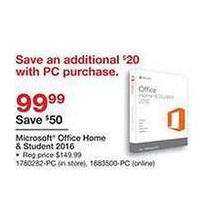 Microsoft Office Home & Student 2016 - $79.99 w/ PC Purchase