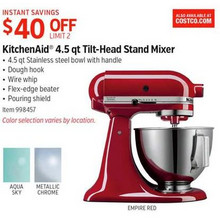 KitchenAid 4.5-qt. Tilt-Head Stand Mixer (Assorted) $40 Off