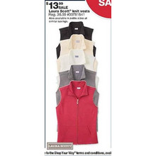 Laura Scott Womens Quilted Knit Vest