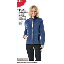Laura Scott Womens French Terry Zip-Front Jacket
