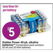 Golden Power Combo 20-ct. AA & 20-ct. AAA Alkaline Batteries (40-pk.)