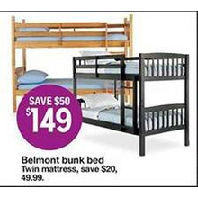 Belmont Bunk Bed (Twin) (Assorted Colors)