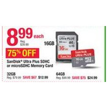 SanDisk Ultra Plus SDHC Memory Card 16GB