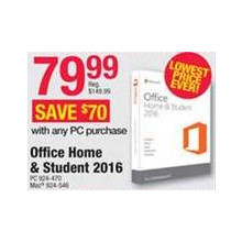 Office Home & Student 2016 $79.99 w/ PC Purchase