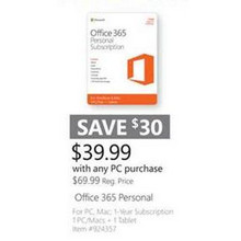 Office 365 Personal Subscription $39.99 w/ Any PC Purchase
