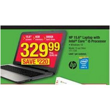 "HP 15.6"" Laptop w/ Intel Core i5 Processor"