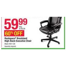 Realspace Breckland High-Back Executive Chair (Black)