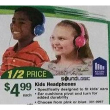 Sound Logic Kids Headphones (Pink)