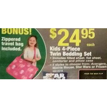 Kids 4-pc. Twin Bedding Set w/ Zippered Travel Bag