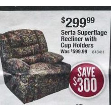 Serta Superflage Recliner w/ Cup Holders