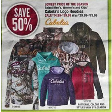 Cabela's Mens Logo Hoodies (Select) 50% Off
