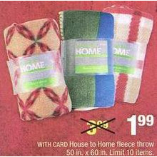 House to Home Fleece Throw (Assorted)