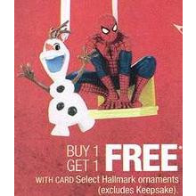 Hallmark Ornaments (Select) BOGO Free
