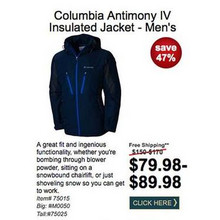 Columbia Mens Antimony IV Insulated Jacket $79.98-$89.98