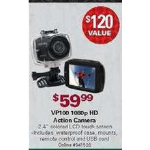 "VP100 2.4"" Colored LCD 1080p HD Action Camera w/ Waterproof Case, Mounts, Remote Control & USB Card"