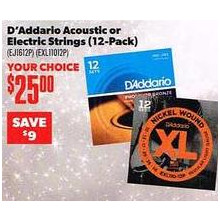 D'Addario Electric Strings (12-pk.)